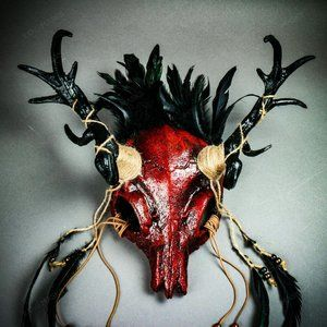 Dark Red Antelope Devil Deer Horn Skull Masquerade